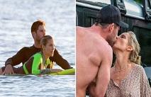 Крис Хемсворт учит свою жену кататься на серфе